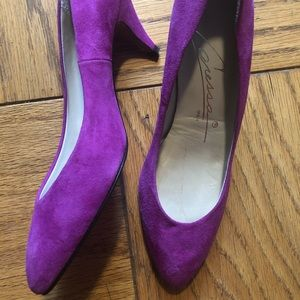 Vintage Spanish Suede Fuschia Pumps 6.5